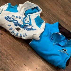 Two Carolina Panthers sweatshirts